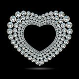 Glänzendes Diamantherz des Vektors auf schwarzem Hintergrund Lizenzfreie Stockfotos