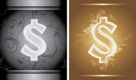 Glänzendes Dollarzeichen auf dem dekorativen Hintergrund Lizenzfreie Stockfotos