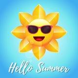 Glänzendes gelbes Sun-Charakter-Design Stockfotografie