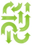 Glänzendes grünes gekopiertes Pfeilset Lizenzfreie Stockfotografie