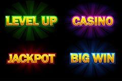 Glänzendes Kasino Text des Vektors, Jackpot, großer Gewinn und Niveau oben Ikonen für Kasino, Schlitze, Roulette und Spiel UI stock abbildung