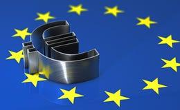 Glänzendes Metalleurosymbol, das auf der europäischen Flagge liegt Lizenzfreies Stockbild