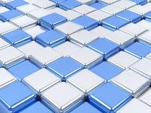 glänzendes Mosaik 3d, Silber und blaue Oberflächen. Lizenzfreies Stockfoto