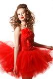 Glänzendes Pin-up-Girl im Rot Stockbilder