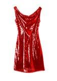 Glänzendes rotes Abendkleid Stockbild