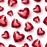 Glänzendes rotes karminrotes Herz auf dem weißen Hintergrund nahtlos Lizenzfreie Stockbilder