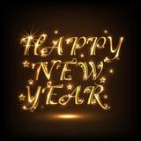 Glänzendes Textdesign für guten Rutsch ins Neue Jahr-Feier 2015 Stockbild