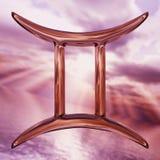 Glänzendes Tierkreishoroskop Zwillingssymbol Wiedergabe 3d Stockfotografie