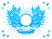 Glänzendes Wappen mit Flügeln und Fahne Stockfotografie