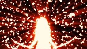 Gl?nzendes wei?es Schattenbild des Kriegersm?dchens mit zwei angehobenen Klingen lizenzfreie abbildung