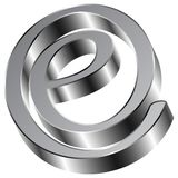 Glänzendes Zeichen-E-Mailsymbol Chromes E Stockbilder