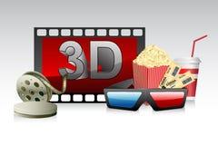 Gläser 3d mit Film-Streifen Lizenzfreie Stockfotos