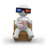Gläser 3d mit Popcorn Lizenzfreie Stockbilder