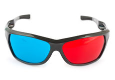 Gläser 3d in Rotem und in Blauem Stockfotografie