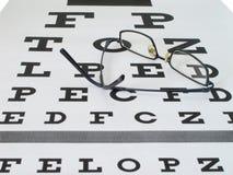 Gläser auf Augenprüfungsdiagramm Stockfotografie
