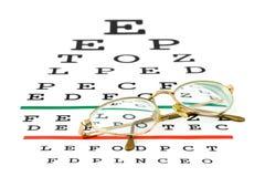 Gläser auf Sehvermögenprüfungsdiagramm Lizenzfreie Stockfotografie
