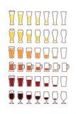 Gläser Bier mit Blasen: leeren Sie sich, halb, voll Vektor Stockfoto