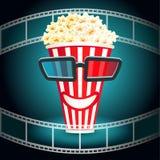 Gläser 3d setzten an einen Kasten mit Popcorn lizenzfreie abbildung