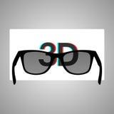 Gläser 3D und ein Stereobild auf einem weißen Schirm Stockbild