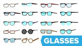 Gläser eingestellter Vektor Moderne Glasikone Verschiedene Eyewear-Arten Brillen mit Rahmen Blaues Lense Flache Karikatur stock abbildung
