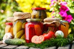 Gläser in Essig eingelegtes Gemüse im Garten Lizenzfreies Stockfoto