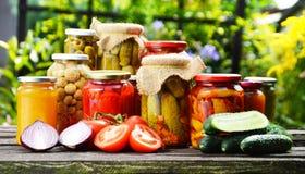 Gläser in Essig eingelegtes Gemüse im Garten Marinierte Nahrung Stockfotografie