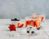 Gläser funkelndes Wasser mit Beeren lizenzfreie stockfotos