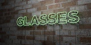 GLÄSER - Glühende Leuchtreklame auf Steinmetzarbeitwand - 3D übertrug freie Illustration der Abgabe auf Lager stock abbildung