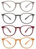 Gläser lokalisiert auf weißem, rot, orange, grau, Farbe Stockbilder
