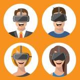 Gläser Mann der virtuellen Realität und flache Ikonen der Frau Stockfoto