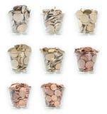 Gläser mit Euro-Münzen Stockfotografie