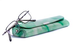 Gläser mit grünem Kasten. Stockfotografie
