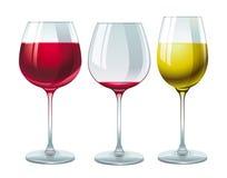 Gläser mit rotem und weißem Wein Stockfotos