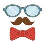Gläser mit Schnurrbart- und Bindungsbogen stock abbildung