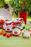 Gläser mit Tomatenchutney und -dekoration Stockfotos