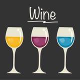 Gläser mit Wein-Auswahl Stockfotos