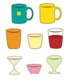 Gläser, Schalen, überfällt Illustration Stockfotos