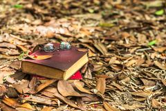 Gläser und alte Bücher auf dem Boden Lizenzfreie Stockfotos