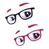 Gläser und Augen Stockbilder