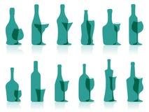 Gläser und Flaschen. Stockfotografie