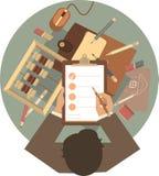 Glätten Sie Designgeschäftsmann am Rundtisch Stockfoto