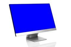 Glätten Sie moderne Computeranzeige auf weißem Hintergrund mit Reflexion Stockfotos