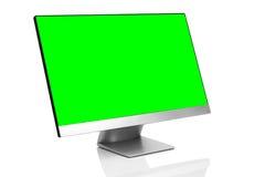 Glätten Sie moderne Computeranzeige auf weißem Hintergrund mit Reflexion Lizenzfreies Stockbild