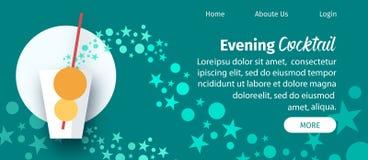 Gl?ttung Cocktail-Website-der flachen Vektor-Schablone lizenzfreie abbildung