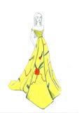 Glättung des gelben Kleides Stockfotografie