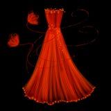 Glättung des roten Kleides auf einem schwarzen Hintergrund Stockfotos