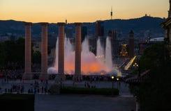 Glättung von Ansicht des magischen Brunnens Montjuic, Barcelona, Katalonien, S lizenzfreies stockfoto