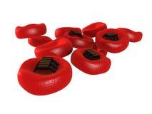 Glóbulos vermelhos com tecnologia nano Fotos de Stock Royalty Free