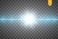 Glöd isolerade blå genomskinlig effekt, linssignalljuset, explosion, blänker, fodrar, solexponeringen, gnistan och stjärnor för royaltyfri illustrationer