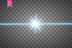 Glöd isolerade blå genomskinlig effekt, linssignalljuset, explosion, blänker, fodrar, solexponeringen, gnistan och stjärnor för Arkivbild